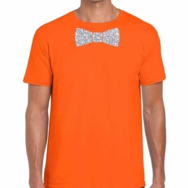 Vlinderdas t-shirt oranje met zilveren glitter strikje heren prijs