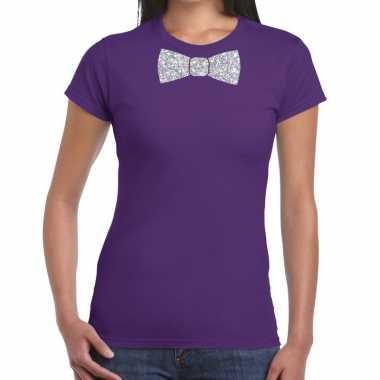 Vlinderdas t-shirt paars met zilveren glitter strikje dames prijs