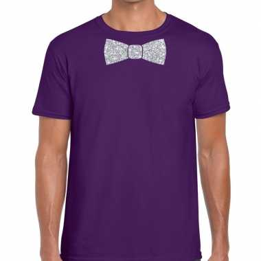 Vlinderdas t-shirt paars met zilveren glitter strikje heren prijs
