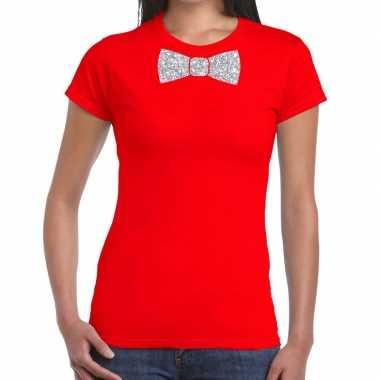 Vlinderdas t-shirt rood met zilveren glitter strikje dames prijs