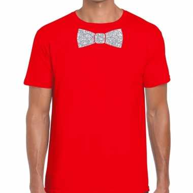 Vlinderdas t-shirt rood met zilveren glitter strikje heren prijs