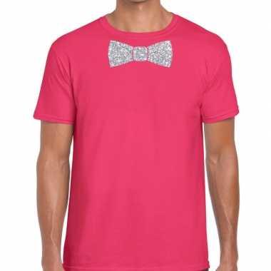 Vlinderdas t-shirt roze met zilveren glitter strikje heren prijs