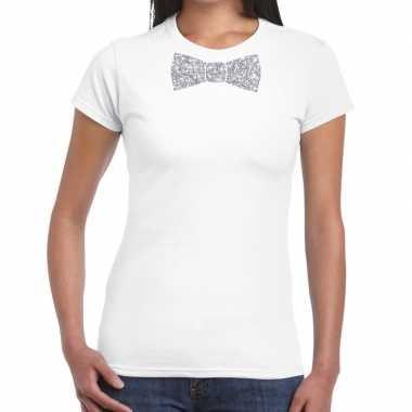 Vlinderdas t-shirt wit met zilveren glitter strikje dames prijs