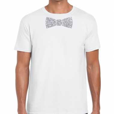 Vlinderdas t-shirt wit met zilveren glitter strikje heren prijs
