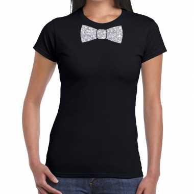 Vlinderdas t-shirt zwart met zilveren glitter strikje dames prijs