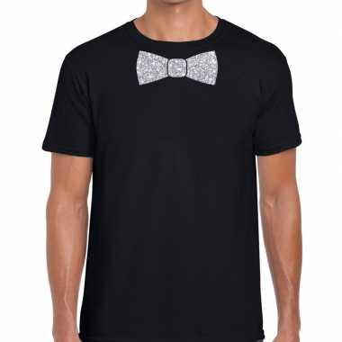 Vlinderdas t-shirt zwart met zilveren glitter strikje heren prijs