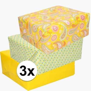 Voordeelpakket 3x cadeaupapier voor pasen prijs