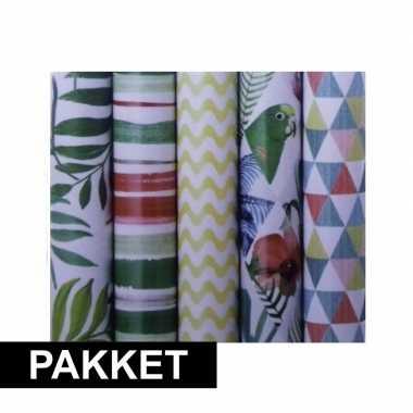 Voordeelpakket 5x cadeaupapier met diverse prints prijs
