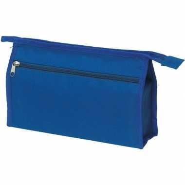 Voordelige blauwe reis toilettas/etui 2-vaks 28 cm prijs