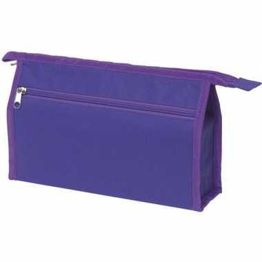 Voordelige paarse reis toilettas/etui 2-vaks 28 cm prijs