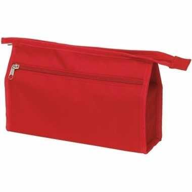 Voordelige rode reis toilettas/etui 2-vaks 28 cm prijs