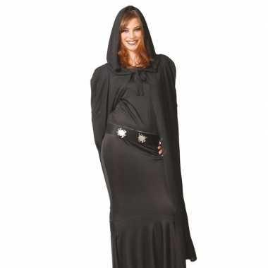 Voordelige zwarte mantel met capuchon 135 cm prijs