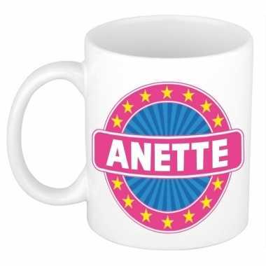 Voornaam anette koffie/thee mok of beker prijs