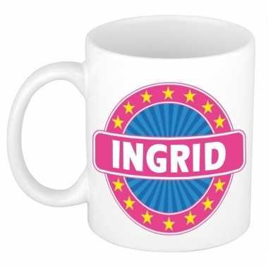 Voornaam ingrid koffie/thee mok of beker prijs