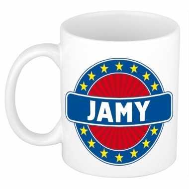 Voornaam jamy koffie/thee mok of beker prijs