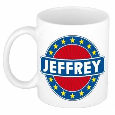 Voornaam jeffrey koffie/thee mok of beker prijs