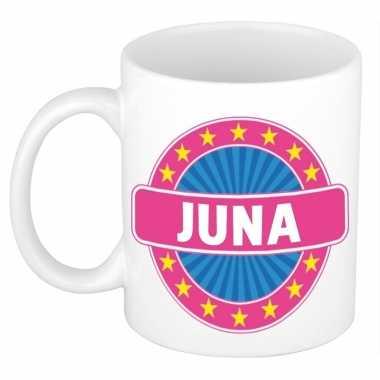 Voornaam juna koffie/thee mok of beker prijs