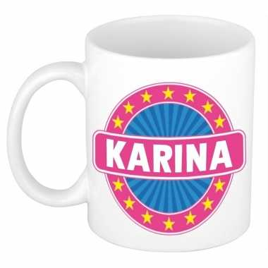 Voornaam karina koffie/thee mok of beker prijs