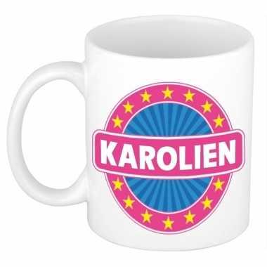 Voornaam karolien koffie/thee mok of beker prijs