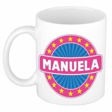 Voornaam manuela koffie/thee mok of beker prijs