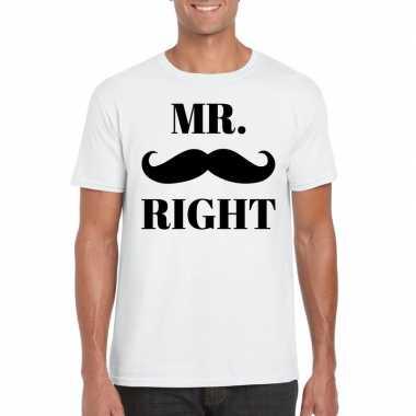Vrijgezellen mr. right t-shirt wit heren prijs