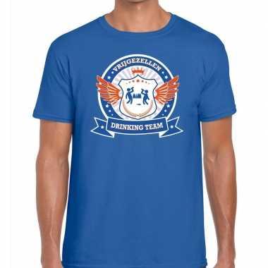 Vrijgezellenfeest blauw oranje drinking team t-shirt blauw heren prij