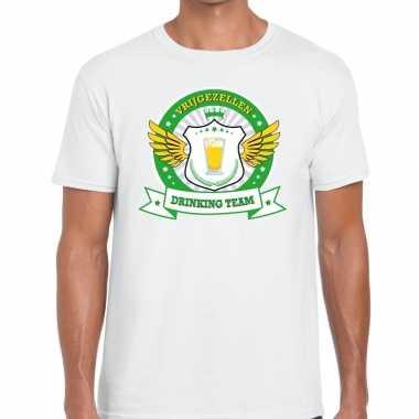Vrijgezellenfeest groen geel drinking team t-shirt wit heren prijs