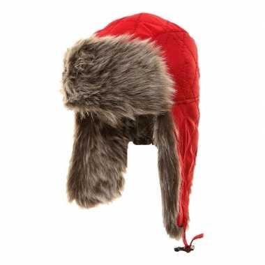 Warme bontmuts rood met pluche/bont en oorflappen voor meisjes prijs