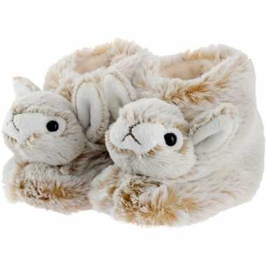 Warme dieren slofjes/pantoffeltjes konijn/haas bruin/wit voor jongens