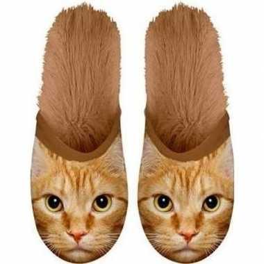 Warme dieren slofjes/pantoffeltjes rodes katten voor jongens/meisjes/