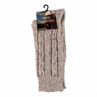 Warme gebreide sokken beige maat 39/42 voor dames prijs