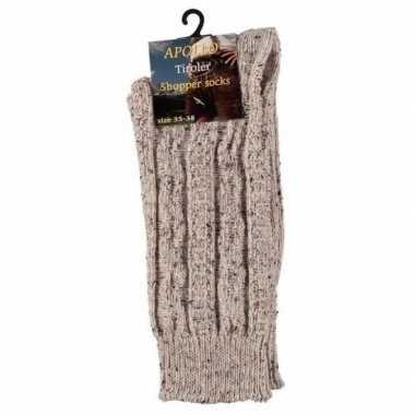 Warme gebreide sokken beige maat 43/46 voor heren prijs