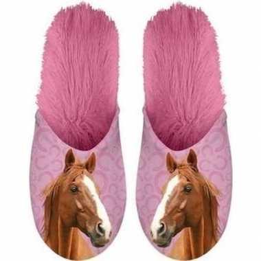 Warme roze dieren slofjes/pantoffeltjes bruine paarden voor meisjes/k