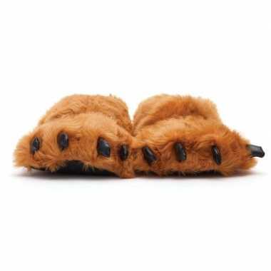 Warme sloffen berenpoot maat 45/47 bruin prijs