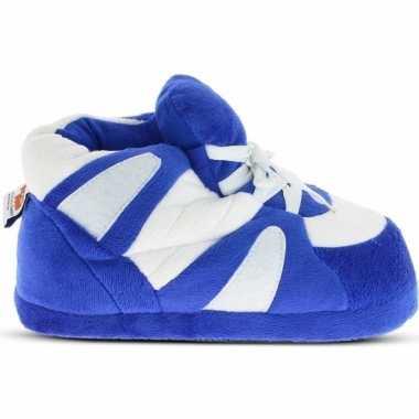 Warme sneaker slofjes/pantoffeltjes blauw/wit voor heren prijs