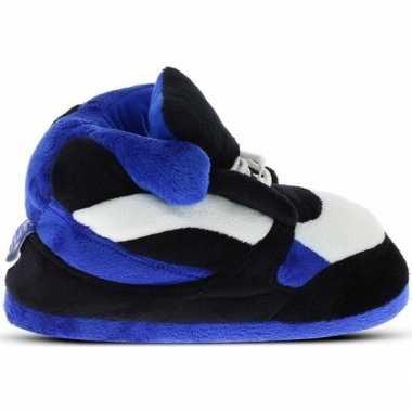 Warme sneaker slofjes/pantoffeltjes blauw/zwart/wit voor heren prijs