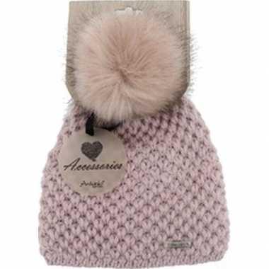 Warme winter muts roze gebreid met bonten pompon/pluim voor dames/vol