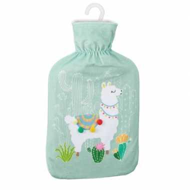 Warmwaterkruik met lama/alpaca print mintgroen 2 liter prijs
