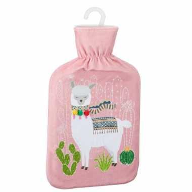 Warmwaterkruik met lama/alpaca print roze 2 liter prijs