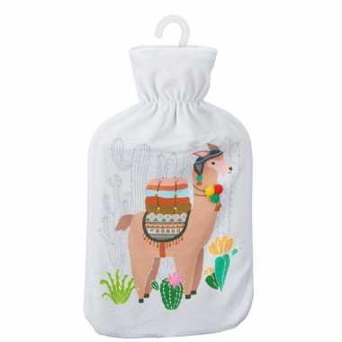 Warmwaterkruik met lama/alpaca print wit 2 liter prijs