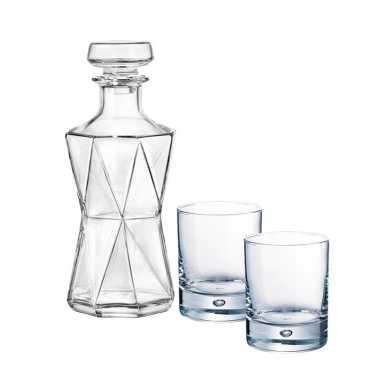 Whiskeyset bestaande uit 1 karaf met 2 rechte glazen prijs