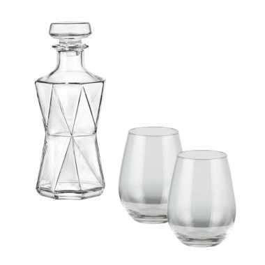 Whiskeyset bestaande uit 1 karaf met 4 bolvormige glazen prijs