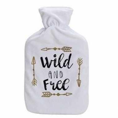 Winter kruik met witte fleecehoes en tekst wild 1 liter prijs