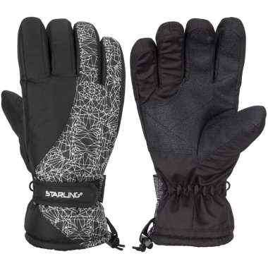 Wintersport starling mirre handschoenen voor kinderen zwart/wit prijs