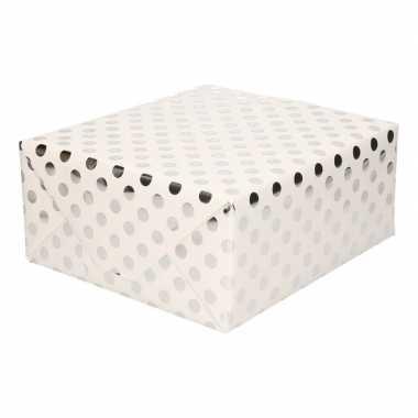 Wit folie geschenkpapier zilveren stip 200 x 70 cm prijs