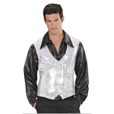 Wit met zilver pailletten vestje voor heren prijs