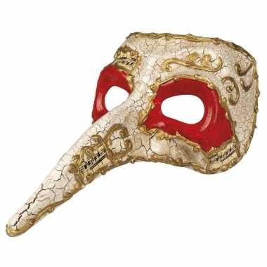 Wit mysterieus snavelmasker glimmend voor heren prijs