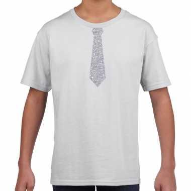Wit t-shirt met zilveren stropdas voor kinderen prijs