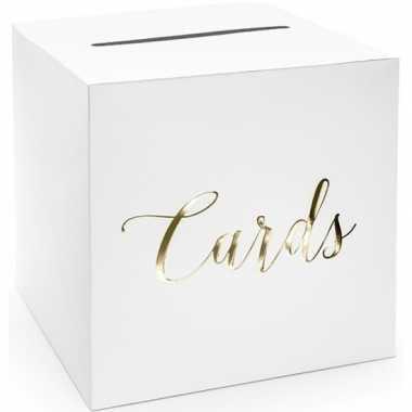 Witte bruiloft enveloppendoos met gouden tekst 24 cm van karton prijs