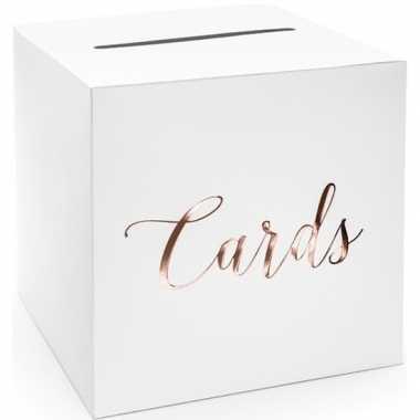 Witte bruiloft enveloppendoos met rosegouden tekst 24 cm karton voor